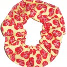 I Love Lucy Hearts on Yellow Fabric Hair Scrunchie Scrunchies by Sherry