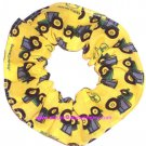 John Deere Tractors on Yellow Fabric Hair Scrunchie Scrunchies by Sherry