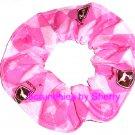 Pink John Deere Hearts Diamonds Fabric Hair Scrunchie Scrunchies by Sherry