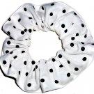Black on White Polka Dots Dot Fabric Hair Scrunchie Ties Scrunchies by Sherry