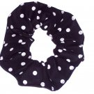 White on Black Polka Dots Dot Fabric Hair Scrunchie Ties Scrunchies by Sherry