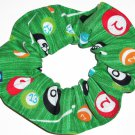 Pool Balls Billards Fabric Hair Ties Scrunchie Scrunchies by Sherry