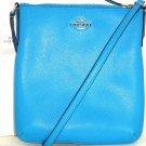 Coach North South Crossbody Handbag Purse Azure Blue Crossgrain Leather