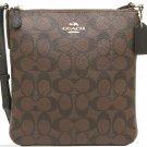 Coach North South Crossbody Handbag Purse Signature Fabric Black Brown