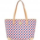 Dooney & Bourke Charleston Handbag Purse Bag Shopper Tote Red, Purple & White Gingham
