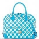 Dooney & Bourke Zip Zip Satchel Handbag Purse Bag White Turquoise New