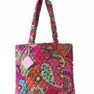 Vera Bradley Tote Bag Pink Swirls Solid Interior