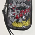 Disney Parks Minnie Mickey Mouse Sequin Smartphone Case Wristlet Strap New