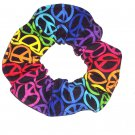 Rainbow of Colors Neon Peace Signs Fabric Hair Scrunchie