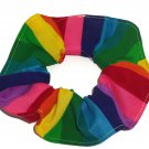 Rainbow Colorful Bright Fabric Hair Scrunchie Scrunchies by Sherry
