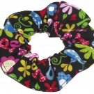 Love Peace Floral Colorful Bright Fabric Hair Scrunchie Scrunchies by Sherry