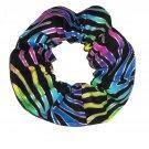 Rainbow Zebra Glitter Colorful Bright Fabric Hair Scrunchie Scrunchies by Sherry
