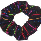 Splash of Color Bright Black Fabric Hair Scrunchie Scrunchies by Sherry