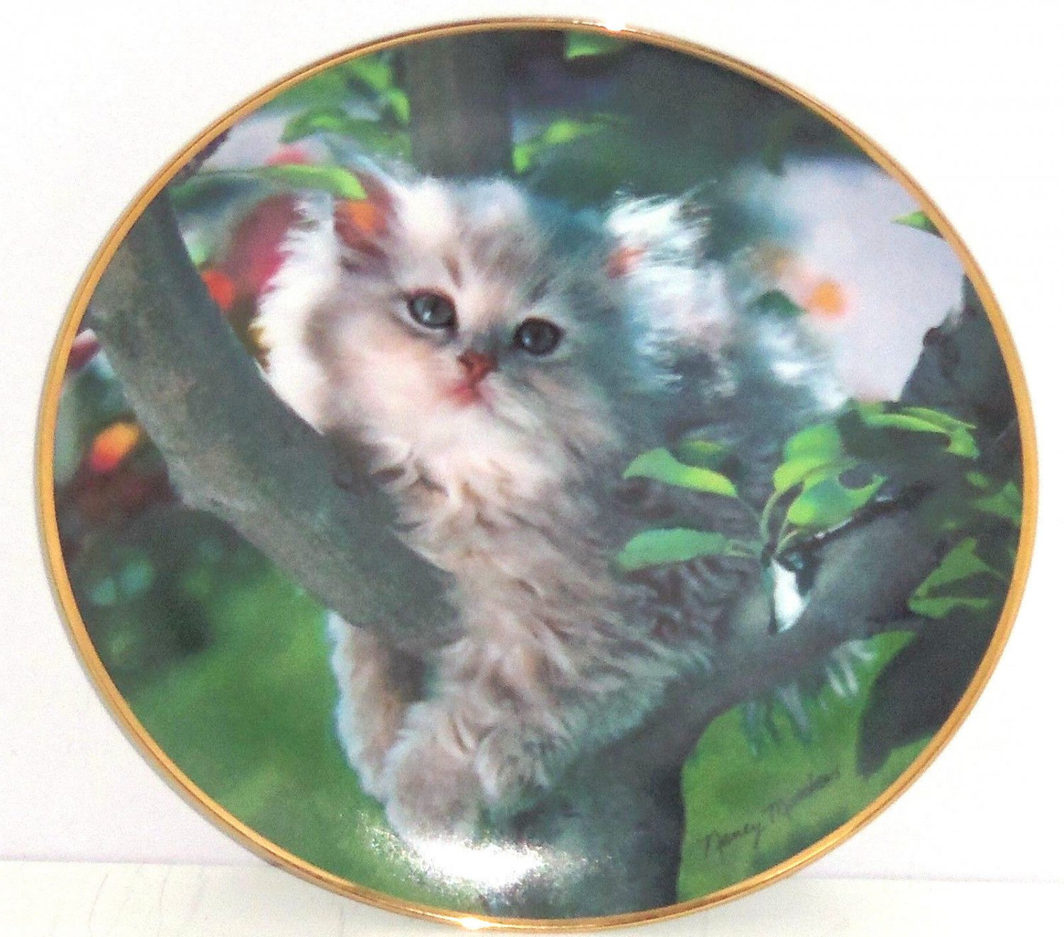 Persian Cat Collector Plate Out on a Limb Franklin Mint Retired Nancy Matthews