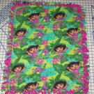 Dora the Explorer Jungle Fever Tied  Fleece Baby Pet Lap Blanket  Hot Pink Green