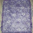 Hearts Purple Blanket Tie Dyed Hand Tied  Fleece Baby Pet Lap  Shower Gift