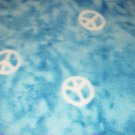 Peace Signs Aqua Blanket Tie Dyed Hand Tied  Fleece Baby Pet Lap