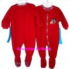 Disney Store Red Mickey Pluto Blanket Sleeper Christmas Holiday Fleece Size 6-9 Months