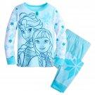 Disney Store Frozen Pj Pals Elsa Anna PJ's  Long Sleeve 2 Piece Pajamas Blue Size 7