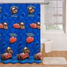 Disney Cars Fabric Shower Curtain Blue New