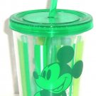 Disney Store Mickey Mouse Green Acrylic Tumbler Straw