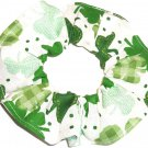 St Patricks Day Fabric Hair Scrunchie Shamrocks on White