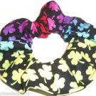 St Patricks Day Fabric Hair Scrunchie Rainbow Shamrocks on Black