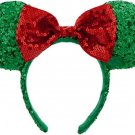 Disney Parks Minnie Mouse Headband Ears Sequins Christmas Red Green 2015