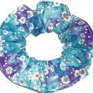 Blue Purple Floral Flowers Fabric Hair Tie Scrunchie