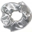 Silver Satin Fabric Hair Scrunchie Scrunchies by Sherry