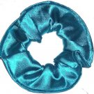 Turquoise Satin Fabric Hair Scrunchie Scrunchies by Sherry