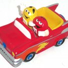 M&M's M&M Hot Rod Car Candy Dish Red Auto Yellow Gal Red Guy