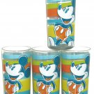 4 Disney Mickey Mouse Cups Acrylic Glasses Summer Fun Blue Orange Yellow