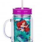 Disney Store Jelly Jar Ariel Acrylic PVC Straw New