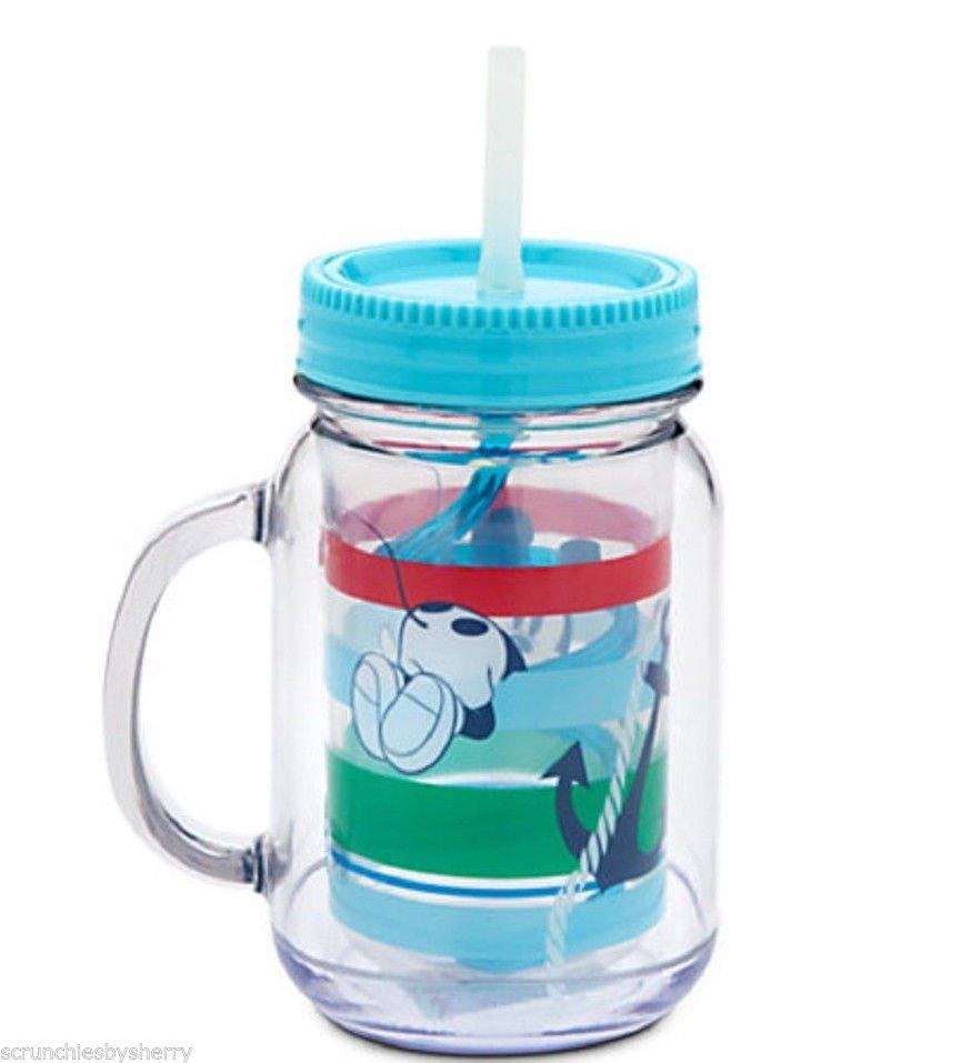 Disney Store Jelly Jar Mickey Mouse Acrylic PVC Straw New