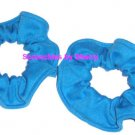 2 Turquoise Knit Fabric Mini Hair Scrunchies Ties
