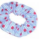 Strawberries Blue Gingham Hair Scrunchie Scrunchies by Sherry