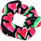 Watermelons on Black Fabric Hair Scrunchie Scrunchies by Sherry