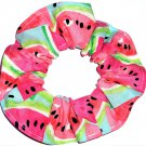 Watermelons on Blue Fabric Hair Scrunchie Scrunchies by Sherry