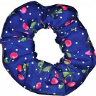 Cherries on Blue Dots Fabric Hair Scrunchie Scrunchies by Sherry
