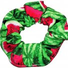 Watermelons on Green Fabric Hair Scrunchie Scrunchies by Sherry