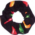 Red Hot Peppers Black Fabric Hair Scrunchie Scrunchies by Sherry