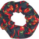 Red Hot Peppers Green Fabric Hair Scrunchie Scrunchies by Sherry