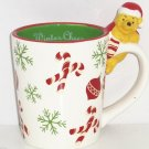 Disney Winne the Pooh on Handle Coffee Mug Cup Christmas Winter Cheer Penneys