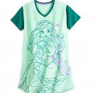 Disney Store Ariel Ladies Nightshirt Nightgown Mermaid Green Size 3XL