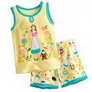 Disney Store Short Sleep Set for Girls Sleepwear Belle Yellow 2017 Size 5