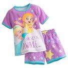 Disney Store Short Sleep Set for Girls Sleepwear Frozen Elsa Anna Purple 2017 Size 5