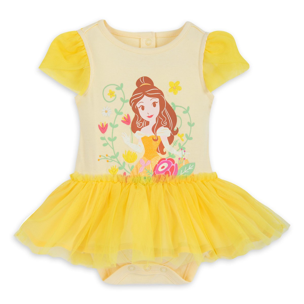 Disney Store Belle Yellow Baby Bodysuit 9-12 Months