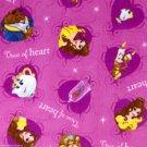 "Disney Beauty and the Beast Purple Gold Fleece Throw Blanket Hand Tied 56"" x 68"""