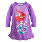 Disney Store Ariel Nightshirt Nightgown Princess The Little Mermaid Long Sleeve Size 5-6